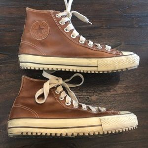 Chuck Taylor Converse Brown Leather High Tops, 9